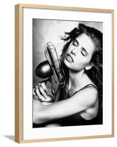 Portrait of a Woman Cooling Herself with a Fan--Framed Art Print