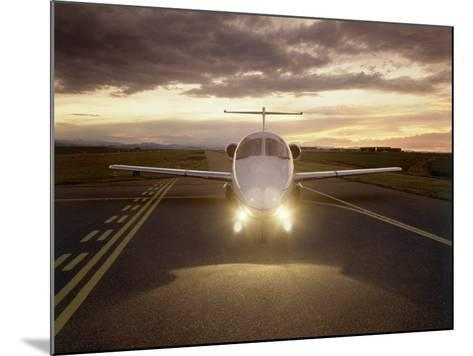 Corporate Jet on Runway-Stephen Collector-Mounted Photographic Print