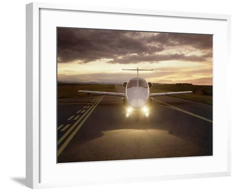 Corporate Jet on Runway-Stephen Collector-Framed Art Print