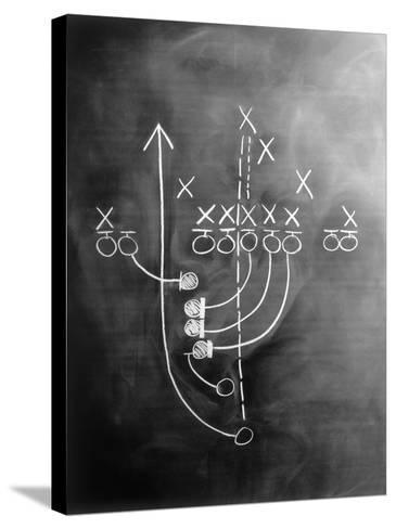 Football Play on Chalkboard-Howard Sokol-Stretched Canvas Print