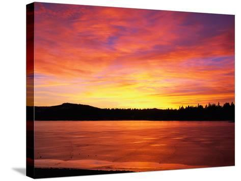 Sunset at Boca Reservoir, Truckee, CA-Kyle Krause-Stretched Canvas Print