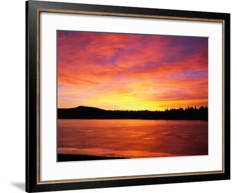 Sunset at Boca Reservoir, Truckee, CA-Kyle Krause-Framed Art Print