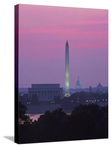 Lincoln & Washington Memorials, Dawn, DC-Walter Bibikow-Stretched Canvas Print