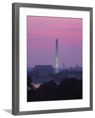 Lincoln & Washington Memorials, Dawn, DC-Walter Bibikow-Framed Art Print