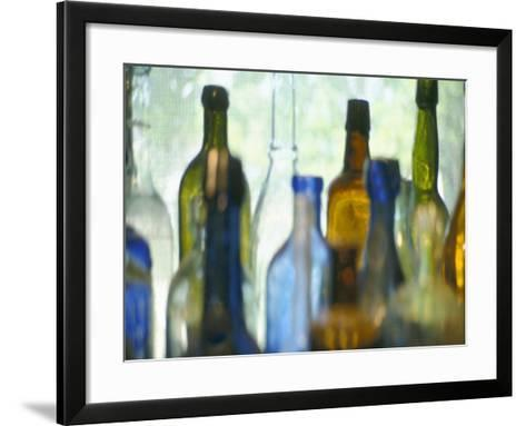 Abstract of Glass Bottles in Window-John Glembin-Framed Art Print