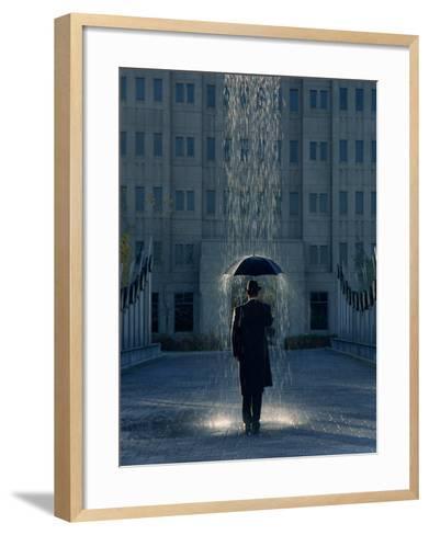 Man with Umbrella Under a Regional Rain-Joseph Hancock-Framed Art Print