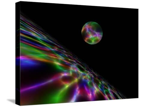 Abstract Bubble Over Multi-Colured Liquid Against Black Background-Albert Klein-Stretched Canvas Print