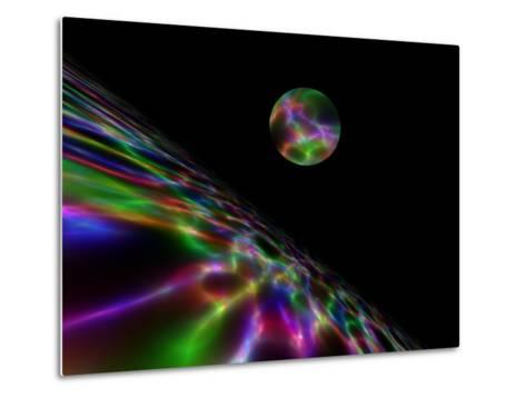 Abstract Bubble Over Multi-Colured Liquid Against Black Background-Albert Klein-Metal Print