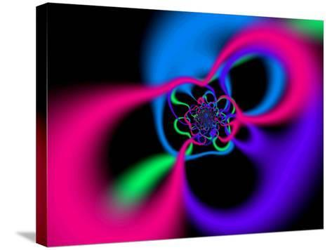 Abstract Pink, Blue and Green Patterns on Black Background-Albert Klein-Stretched Canvas Print