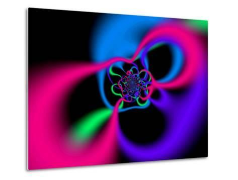 Abstract Pink, Blue and Green Patterns on Black Background-Albert Klein-Metal Print