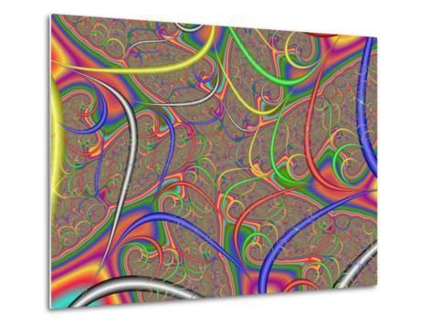 Abstract Fractal Design with Multi-Coloured Patterns and Shapes-Albert Klein-Metal Print