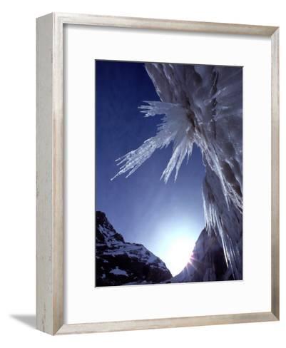 Sunlight Glints on the Bearded Face of Gangotri Glacier-George F^ Mobley-Framed Art Print