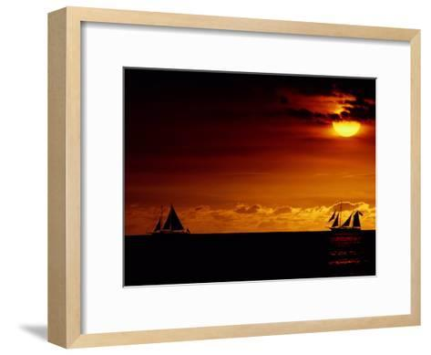 Sailboats Silhouetted on the Pacific Ocean at Twilight-Robert Madden-Framed Art Print