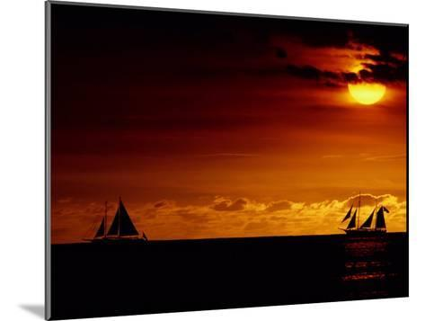 Sailboats Silhouetted on the Pacific Ocean at Twilight-Robert Madden-Mounted Photographic Print