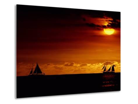Sailboats Silhouetted on the Pacific Ocean at Twilight-Robert Madden-Metal Print