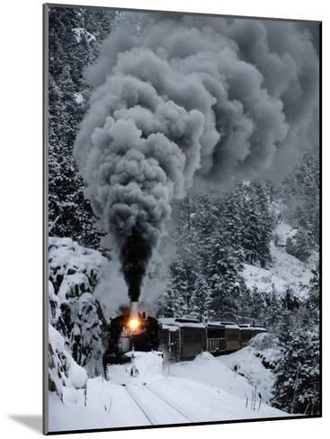 A Train Chugs Through the Snow Blanketing the San Juan Mountains-Paul Chesley-Mounted Photographic Print