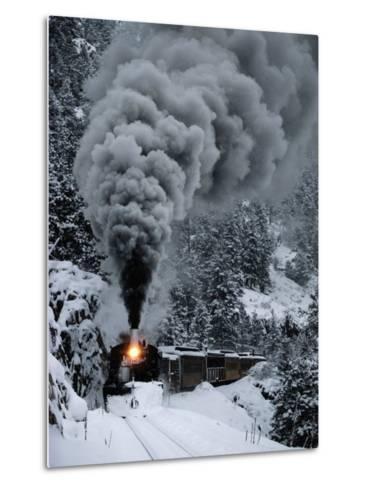 A Train Chugs Through the Snow Blanketing the San Juan Mountains-Paul Chesley-Metal Print