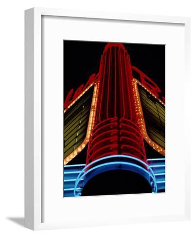 Colorful Neon Centerpiece on the Art Deco Facade a Theater-Stephen St^ John-Framed Art Print