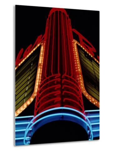 Colorful Neon Centerpiece on the Art Deco Facade a Theater-Stephen St^ John-Metal Print