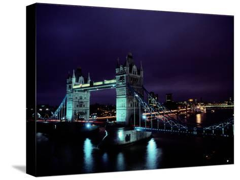 Night View of Tower Bridge, Which Spans the Thames River-Richard Nowitz-Stretched Canvas Print