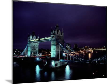 Night View of Tower Bridge, Which Spans the Thames River-Richard Nowitz-Mounted Photographic Print