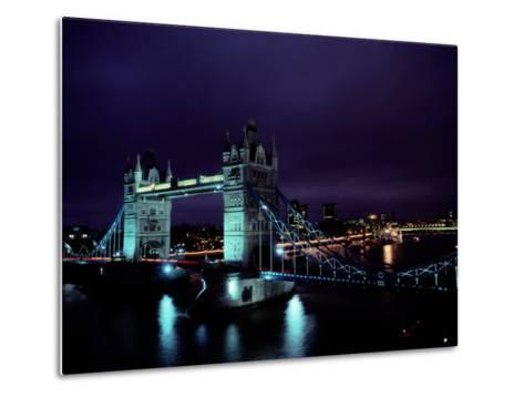 Night View of Tower Bridge, Which Spans the Thames River-Richard Nowitz-Metal Print