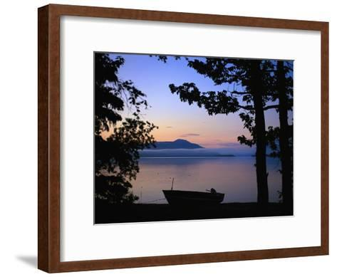 Silhouette of a Motor Boat on the Shores of a Bay in Alaska-Joel Sartore-Framed Art Print