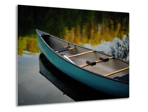 Canoe and Reflections on a Still Lake-Raymond Gehman-Metal Print