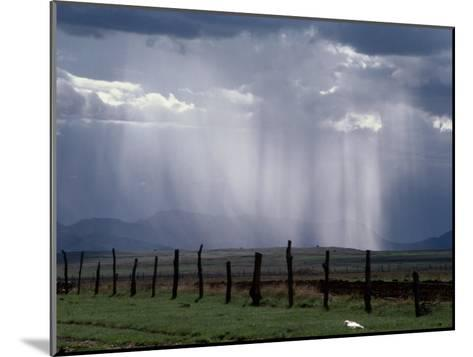 Veils of Rain Stream from Sunlit Clouds over Farmland-George Grall-Mounted Photographic Print