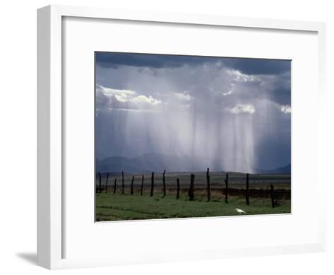 Veils of Rain Stream from Sunlit Clouds over Farmland-George Grall-Framed Art Print
