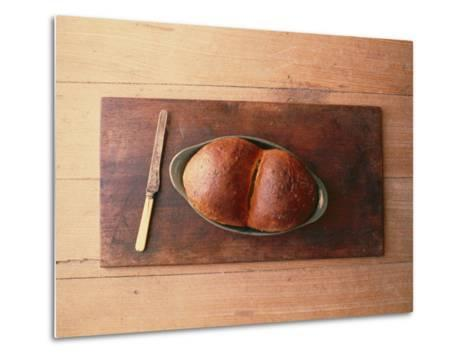Bread Laid out on a Simple Table Setting-Sam Abell-Metal Print