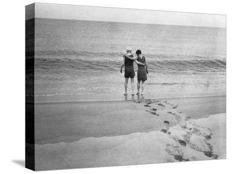 Alexander Graham Bell and His Daughter Walk into the Lake-Bell Family-Stretched Canvas Print