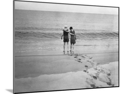 Alexander Graham Bell and His Daughter Walk into the Lake-Bell Family-Mounted Photographic Print