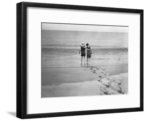 Alexander Graham Bell and His Daughter Walk into the Lake-Bell Family-Framed Art Print