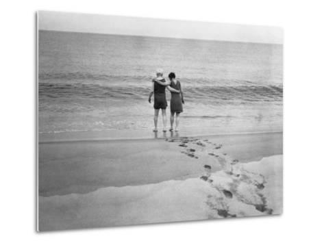 Alexander Graham Bell and His Daughter Walk into the Lake-Bell Family-Metal Print