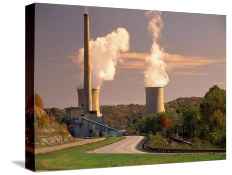 Road and Nuclear Power Plant-Peter Krogh-Stretched Canvas Print