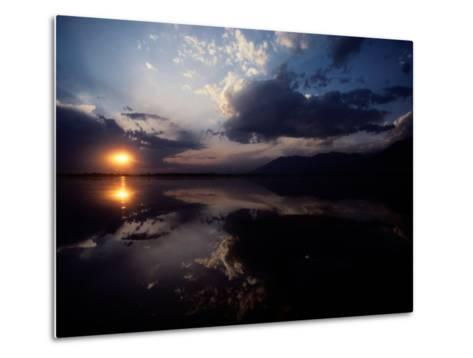 Sunset Sky Filled with Clouds is Reflected in the Water-Sam Abell-Metal Print