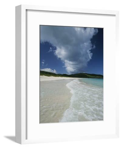 A Strip of Cumulous Clouds Follows This Receding, Tropical Shoreline-Michael Melford-Framed Art Print