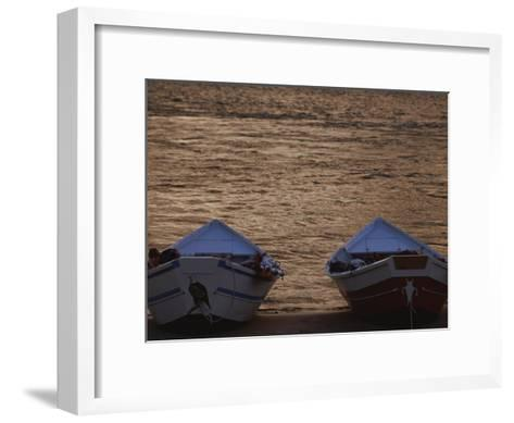 Two Wooden Dories on the Shore of the Colorado River-Dugald Bremner-Framed Art Print