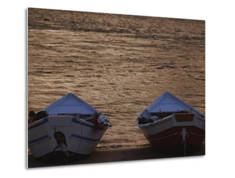 Two Wooden Dories on the Shore of the Colorado River-Dugald Bremner-Metal Print