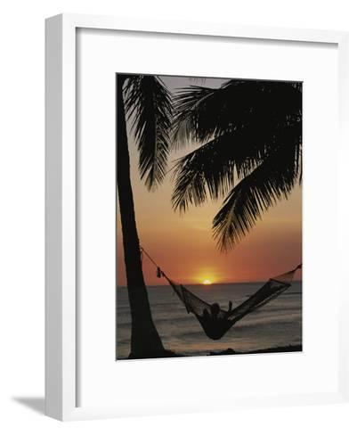 Sunset on Beach with Silhouetted Hammock and Palms, Costa Rica-Michael Melford-Framed Art Print
