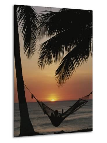Sunset on Beach with Silhouetted Hammock and Palms, Costa Rica-Michael Melford-Metal Print