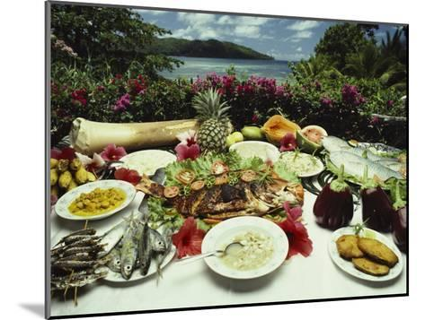 A Table Spread with Fruit and Seafood Prepared in the Local Creole Way-Bill Curtsinger-Mounted Photographic Print