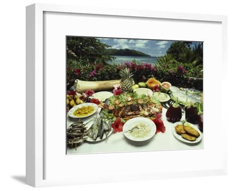 A Table Spread with Fruit and Seafood Prepared in the Local Creole Way-Bill Curtsinger-Framed Art Print