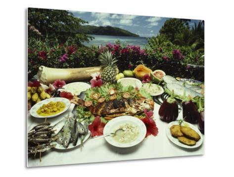 A Table Spread with Fruit and Seafood Prepared in the Local Creole Way-Bill Curtsinger-Metal Print