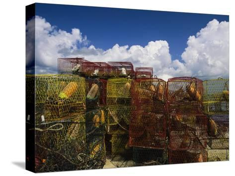 Stacks of Crab Pots with Floats Sitting at the Waterside-Medford Taylor-Stretched Canvas Print
