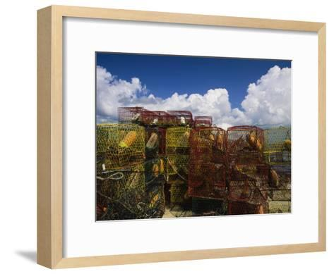 Stacks of Crab Pots with Floats Sitting at the Waterside-Medford Taylor-Framed Art Print