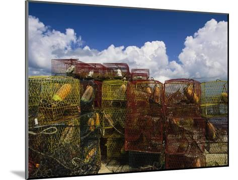 Stacks of Crab Pots with Floats Sitting at the Waterside-Medford Taylor-Mounted Photographic Print