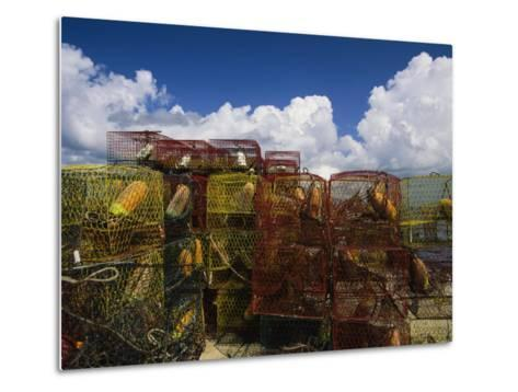 Stacks of Crab Pots with Floats Sitting at the Waterside-Medford Taylor-Metal Print