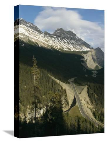 Mountain Peaks Along the Icefields Parkway-Michael S^ Lewis-Stretched Canvas Print